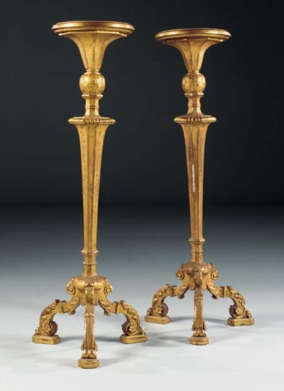 A PAIR OF GILT-GESSO TRIPOD TO