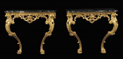 A PAIR OF GILTWOOD CONSOLES