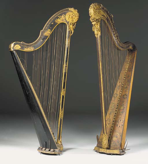 TWO LOUIS XVI HARPS