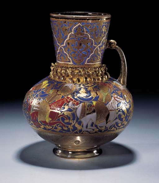 A MAMLUK ENAMELLED GLASS AND G
