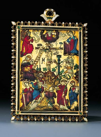 A GOTHIC-STYLE ENAMELLED GOLD