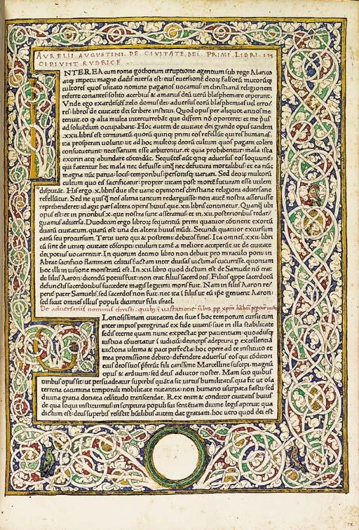 AUGUSTINUS, Aurelius, St. (354-430). De civitate Dei. Rome: Conradus Sweynheym and Arnoldus Pannartz, 1468.