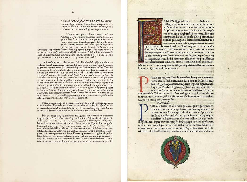 PLINIUS SECUNDUS, Gaius (Pliny the Elder, 23-79). Historia naturalis. Venice: Johannes de Spira, [before 18 September] 1469.