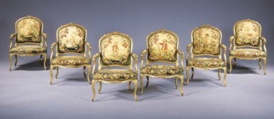 A SET OF SIX LOUIS XV GILTWOOD