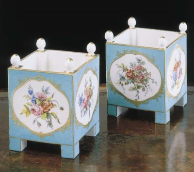 A PAIR OF LOUIS XV SÈVRES BLEU