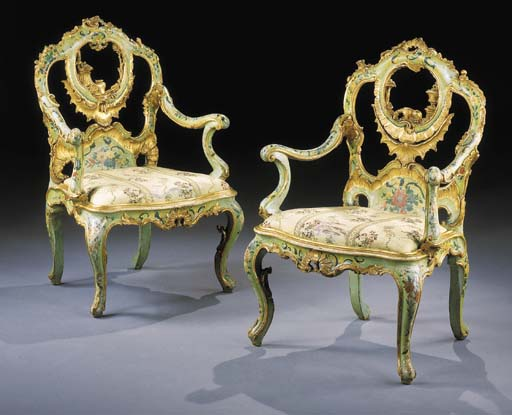 A PAIR OF ITALIAN PALE GREEN AND POLYCHROME-DECORATED AND PARCEL-GILT ARMCHAIRS