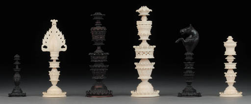 A Vizigapatnam ivory chess set