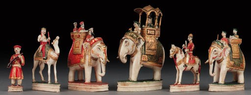An Indian ivory and parcel gil