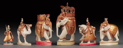 An Indian ivory, polychrome an