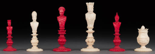A Macao ivory and red bust che