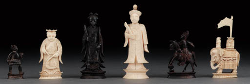 A composite Chinese ivory figu