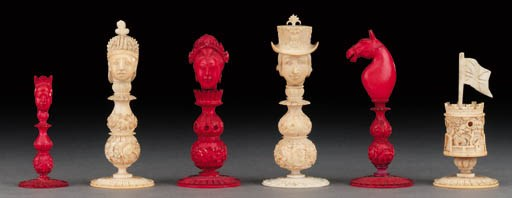 A Macao ivory head type chess