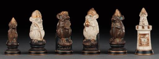 A pottery mouse chess set