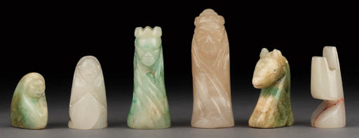 A Mexican onyx figural chess s