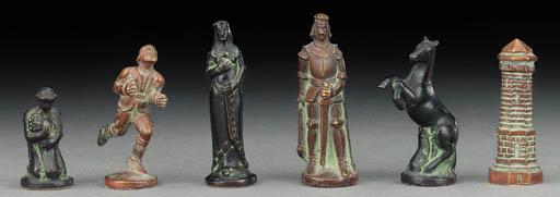 A Continental bronze figural c