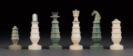A Continental ivory chess set