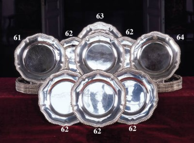 A set of ten French silver din