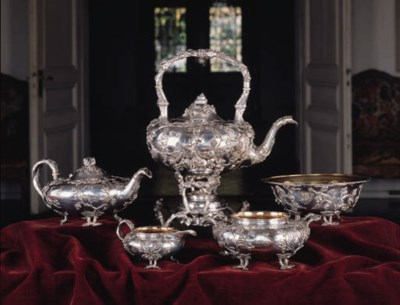 A French silver teaset by Auco