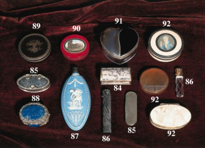 A collection of snuff boxes an