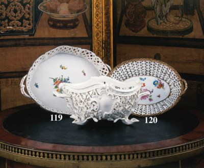 A Meissen oval-two handled bas
