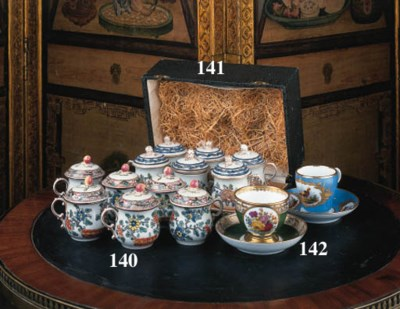 Six French porcelain famille r
