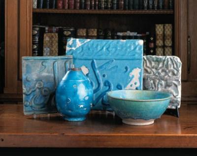 A Kashan pottery script tile,