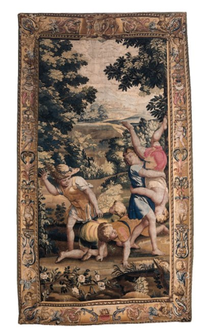 A beauvais pastoral tapestry,