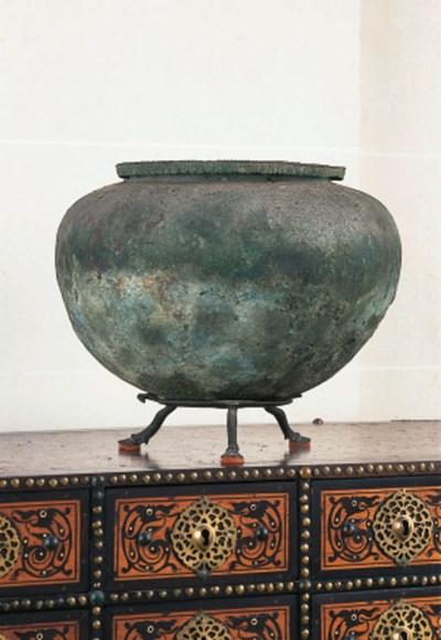 An Etruscan bronze amphora