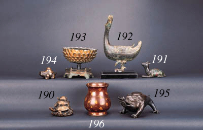 A Chinese bronze incense burner modelled as a duck