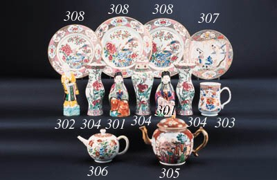 Three famille rose plates en s