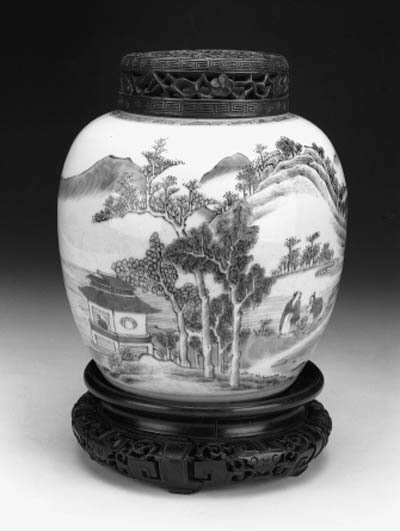 A Chinese blue and white globular jar