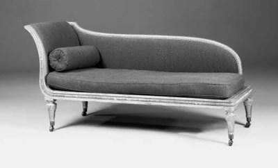 A giltwood chaise longue, earl