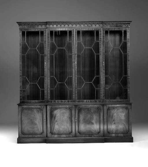 A George III style mahogany library bookcase, late 20th century