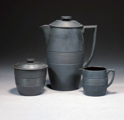 A WEDGWOOD BLACK BASALT COFFEE
