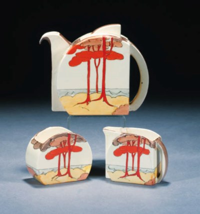 'CORAL FIRS' A NEWPORT POTTERY