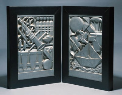 A PAIR OF SILVERED PLASTER WAL
