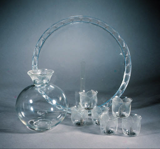'COQUELICOT' A CLEAR AND ENAMELLED GLASS DECANTER SERVICE