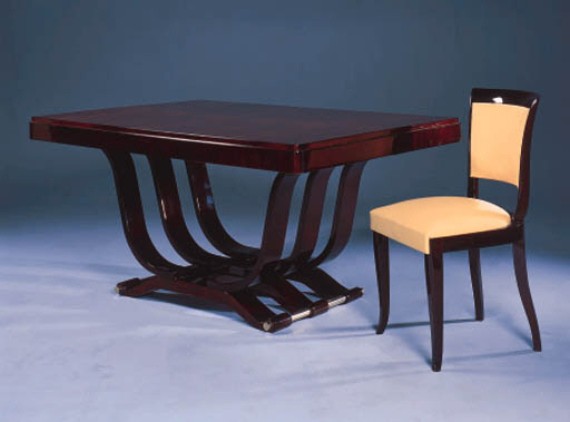 AN ART DECO ROSEWOOD DINING TABLE