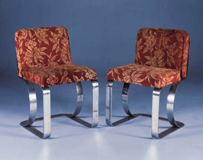 A PAIR OF CHROMED FLAT STEEL S