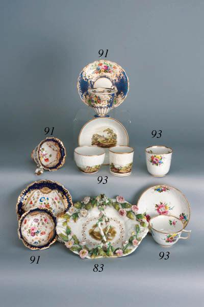 A Copeland & Garrett Felspar porcelain blue-ground cup and saucer