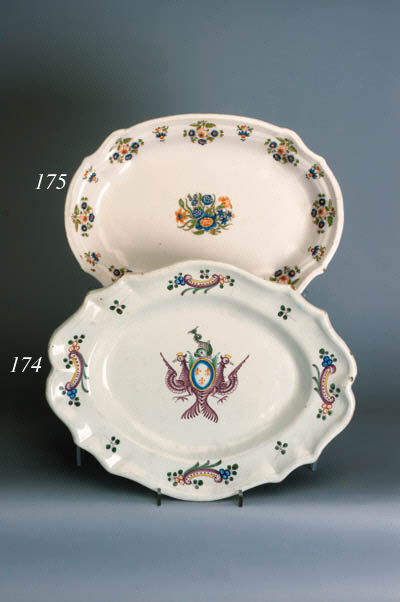 A French faience shaped oval armorial dish