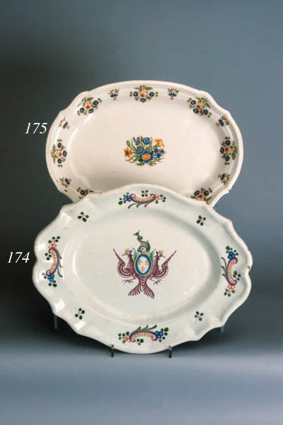 A Moustiers shaped oval dish
