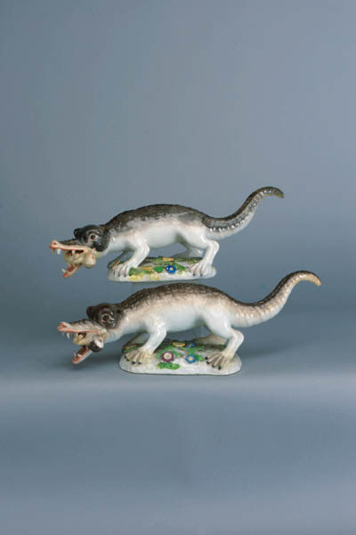 Two Meissen models of crocodiles devouring infants