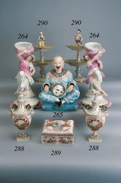 A Continental porcelain clock