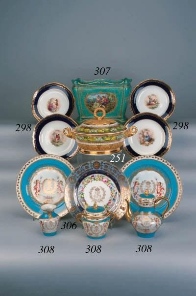 A Sèvres style turquoise-groun