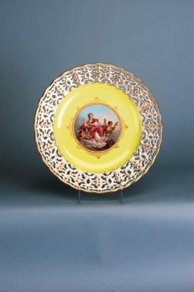 A Meissen pierced yellow-groun