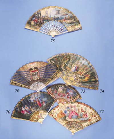 A fine fan, the leaf painted w