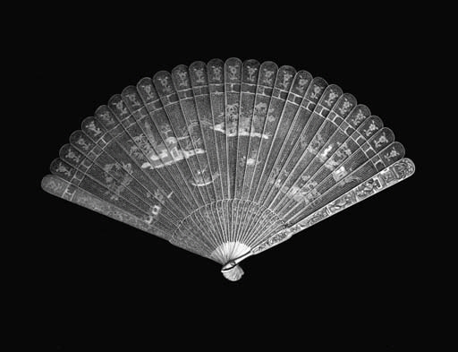A Canton filigree fan, enamell