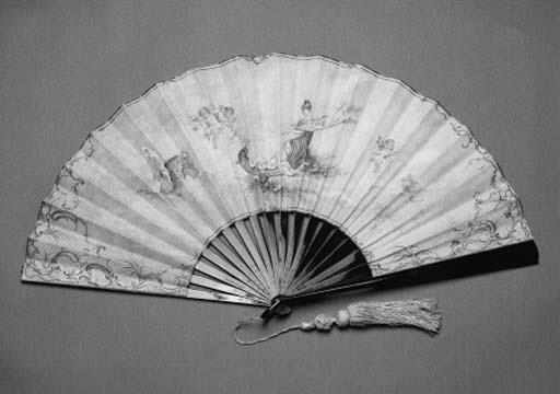 A fan by Ed. Creusy, Paris, the canepin leaf painted with a nymph in a chariot drawn by butterflies, the verso with sprays of bamboo, with tortoiseshell sticks - 12in. (34cm.), circa 1890
