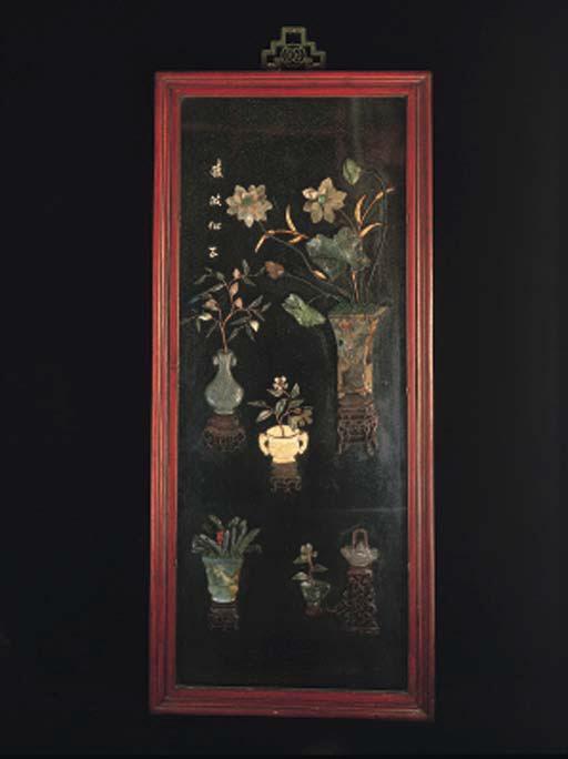 A set of four Chinese black la